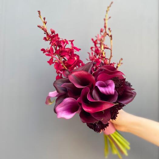 Букет невесты «Винный бархат»