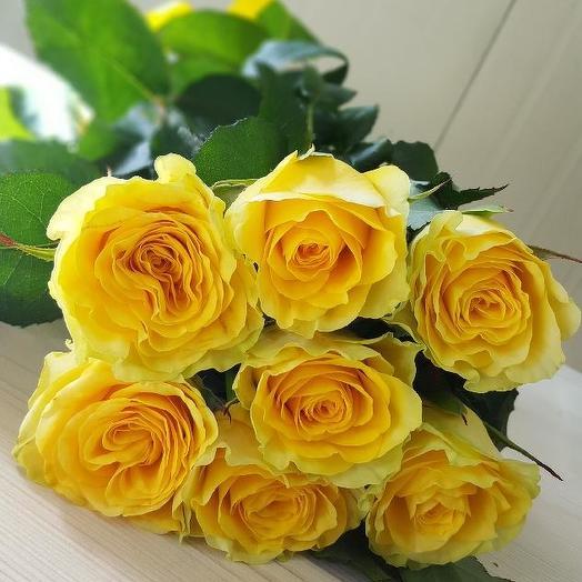 Букет из 7 желтых роз 60 см: букеты цветов на заказ Flowwow