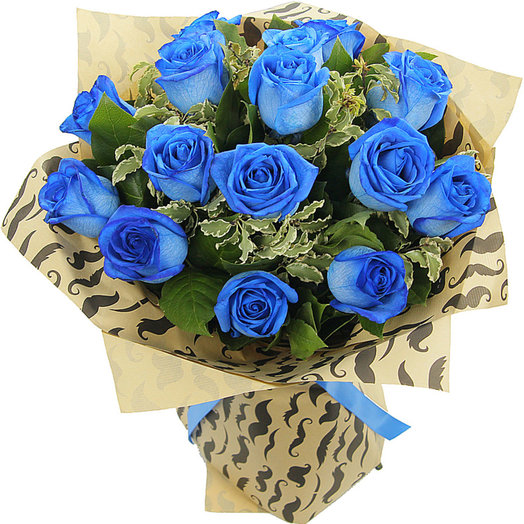 Букет из 15 синих роз БОСС (S4026)