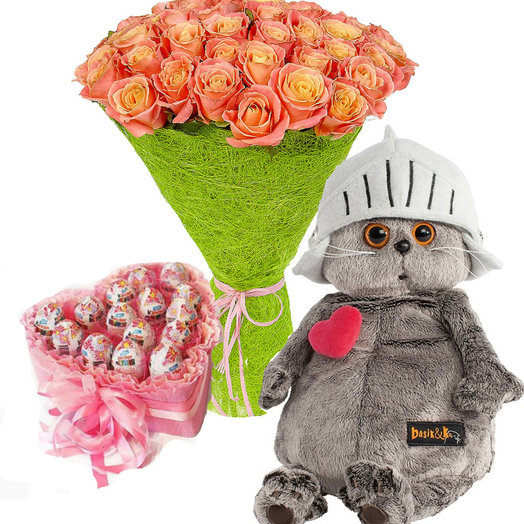 Подарочный набор День Святого Валентина: букеты цветов на заказ Flowwow