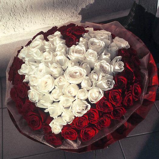 Букет из 101-ой розы с сердечком
