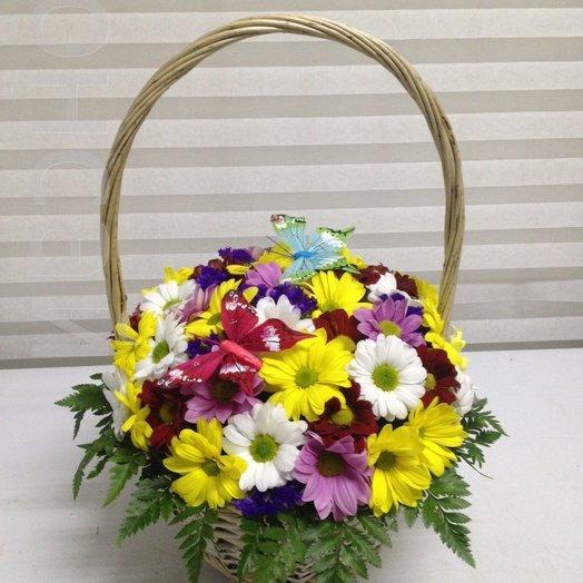Корзинка с хризантемой