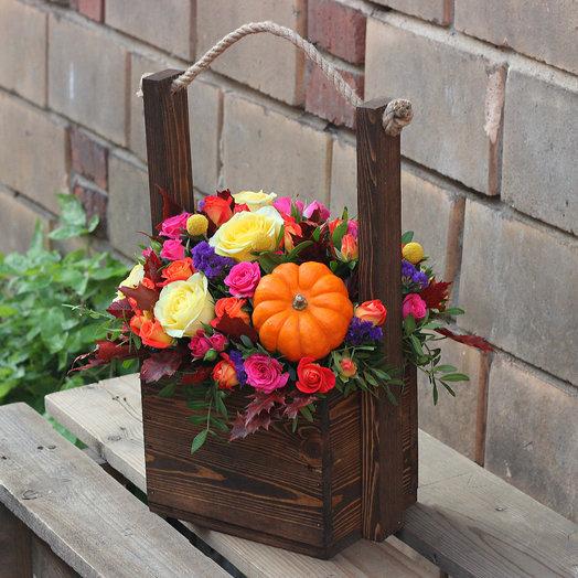 Осенний ящик с цветами: букеты цветов на заказ Flowwow