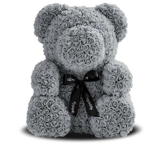 Медведь из фоамирановых роз в коробке
