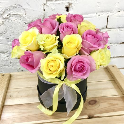 Шляпная коробка «Лимонная карамелька»: букеты цветов на заказ Flowwow