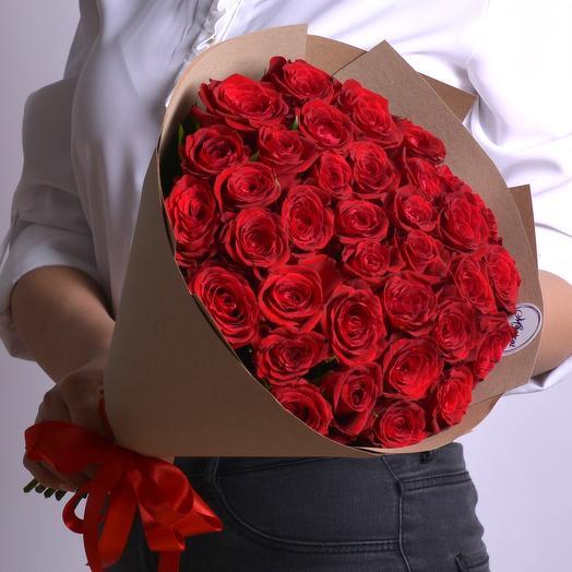 Букет 35 шт Красных Роз