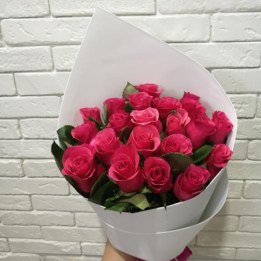 Букет из 21 малиновой розы: букеты цветов на заказ Flowwow