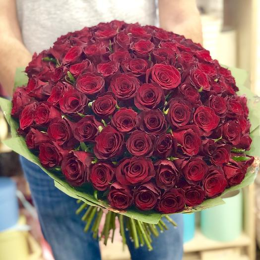 Bouquet of 101 red roses in Kraft