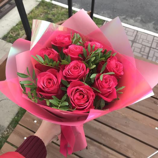9 роз в оформлении: букеты цветов на заказ Flowwow