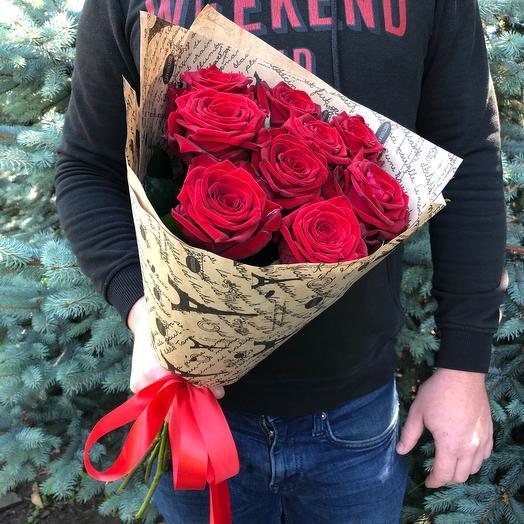 Rosalina - 9 бордовых роз в крафт