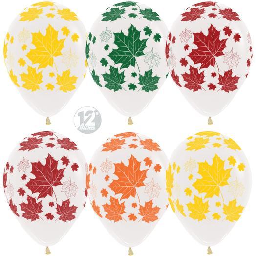 150956 Шар (12 30 см) Разноцветные листья Прозрачный (390)_кристалл 1шт с гелием