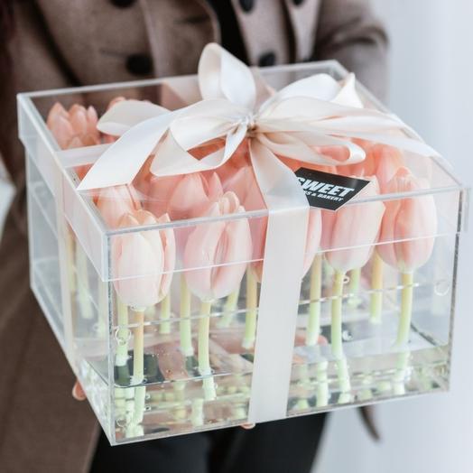 Тюльпаны в акриловые коробки