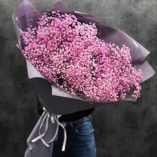 Букет- гигант из розовой гипсофилы