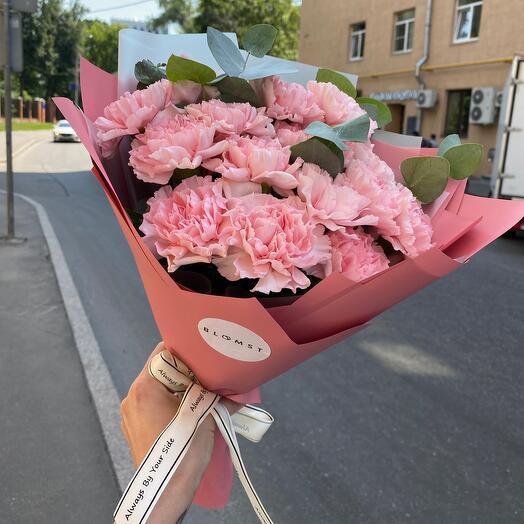Букет из 15 розовых диантусов