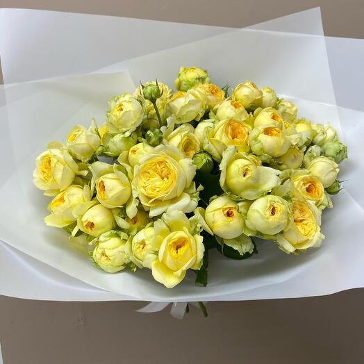 Лимонные кустовые Розы