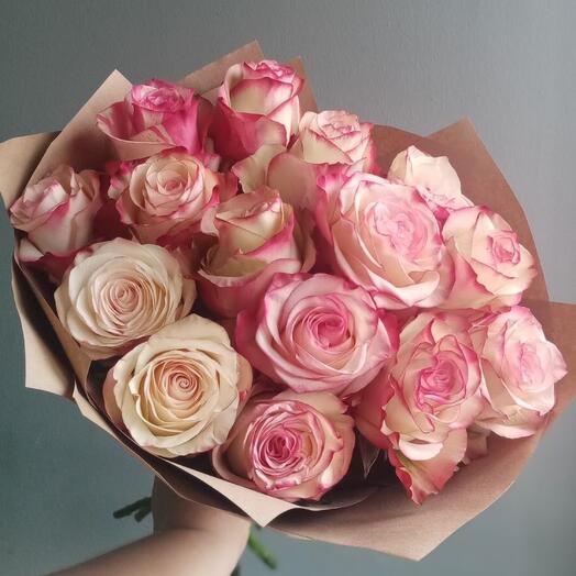Букет из 15 роз редкого сорта Paloma