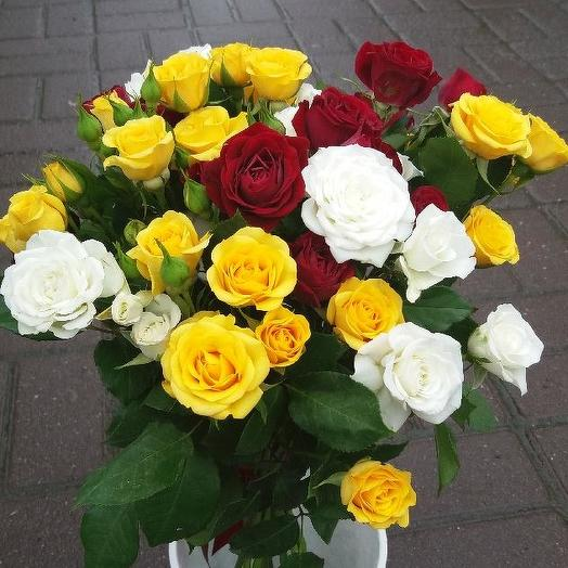 Букет из 11 разноцветных кустовых роз 50 см: букеты цветов на заказ Flowwow