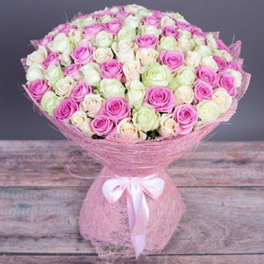 101 роза Нежный микс