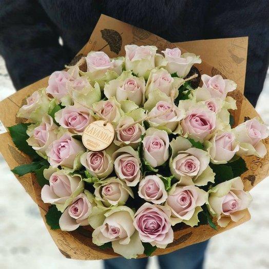 Букет из 35 розовых кенийская роза: букеты цветов на заказ Flowwow