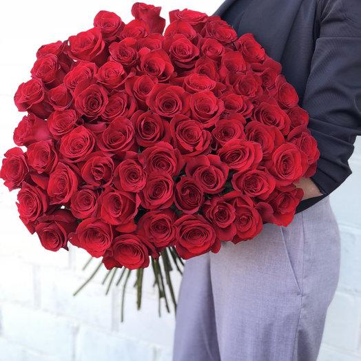 Букет из 55 красных голландских роз 60 см: букеты цветов на заказ Flowwow