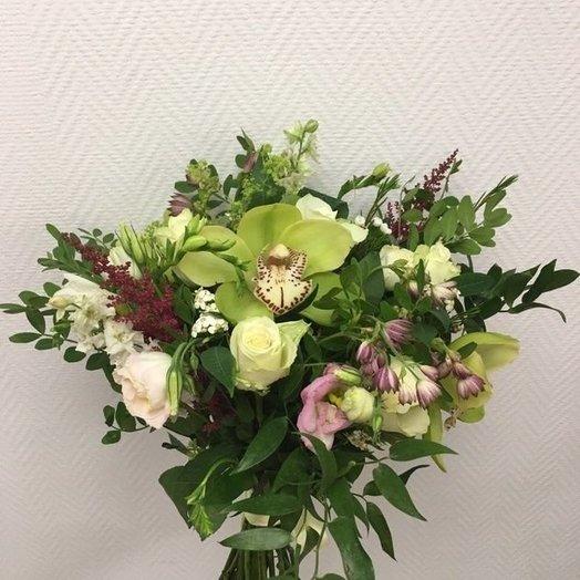 Букет с орхидеей в стиле рустик: букеты цветов на заказ Flowwow