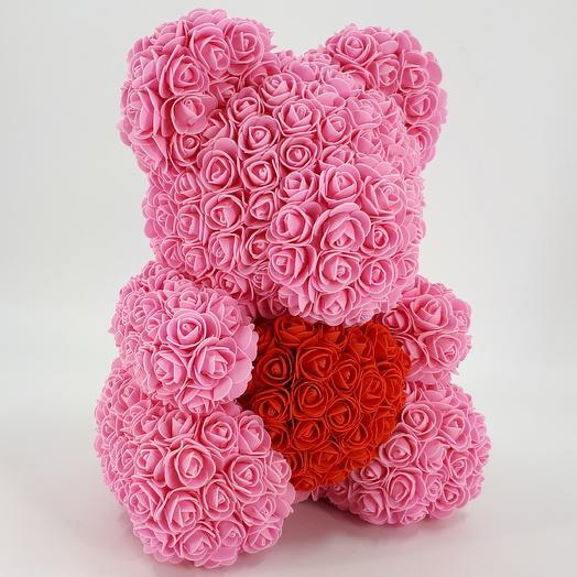 Мишка из роз 40 см розовый с сердцем: букеты цветов на заказ Flowwow