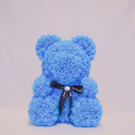 Мишка из роз RozaRose Голубой - 40 см