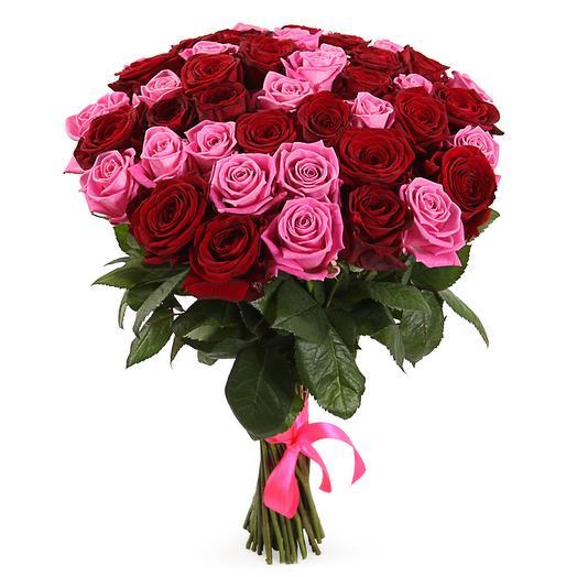 Букет Страсть и нежность, 51 роза: букеты цветов на заказ Flowwow