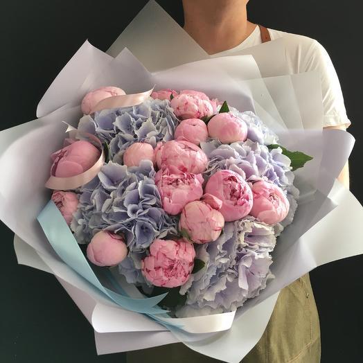 Пионы и гортензия 💗: букеты цветов на заказ Flowwow