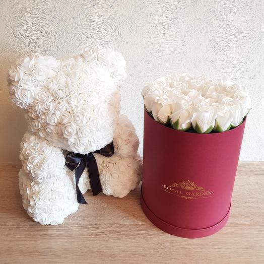 Композиция из мыльных роз: букеты цветов на заказ Flowwow