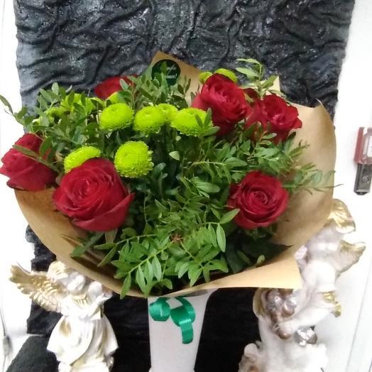 Букет из роз и хризантемы: букеты цветов на заказ Flowwow