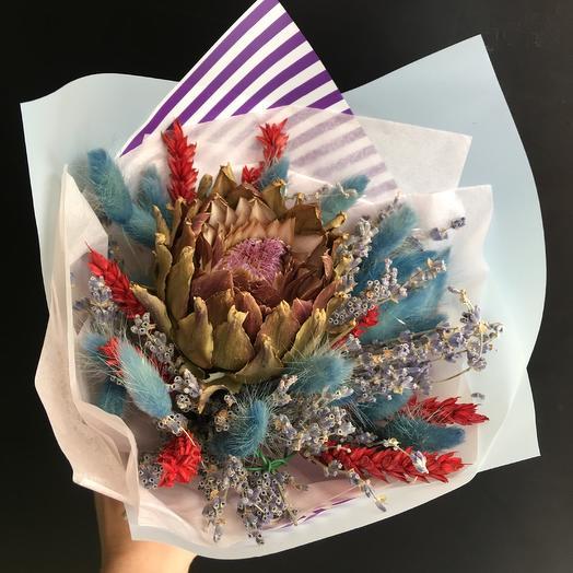 Букет сухоцветов с артишоком: букеты цветов на заказ Flowwow