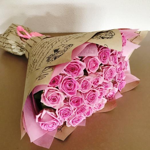 Букет из 29 розовых роз: букеты цветов на заказ Flowwow