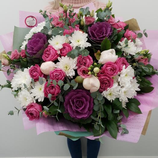 """Авторский букет с пионами и пионовидной розой """"1001 ночь"""""""