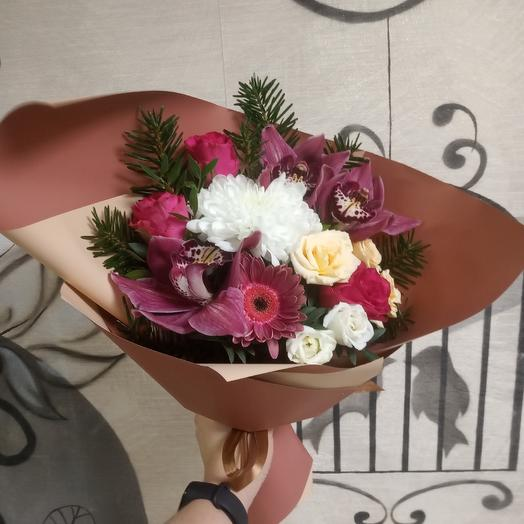 Bouquet with roses and orchids m'lady: flowers to order Flowwow