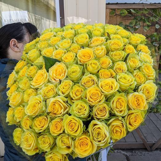 Букет из 101 высокой жёлтой розы