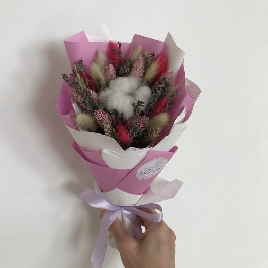 Розовый букет из сухоцветов: букеты цветов на заказ Flowwow