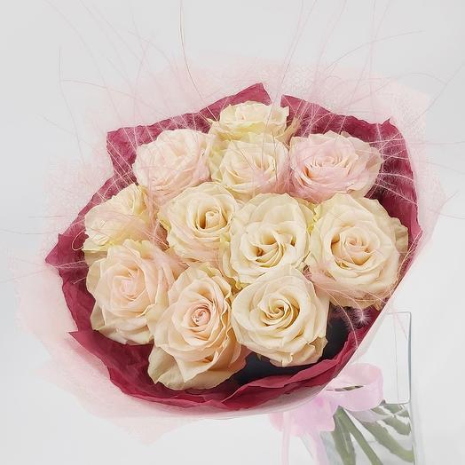 11 Бежевых роз: букеты цветов на заказ Flowwow