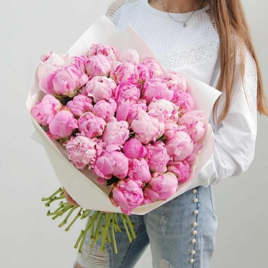 33 зефирных пиона: букеты цветов на заказ Flowwow