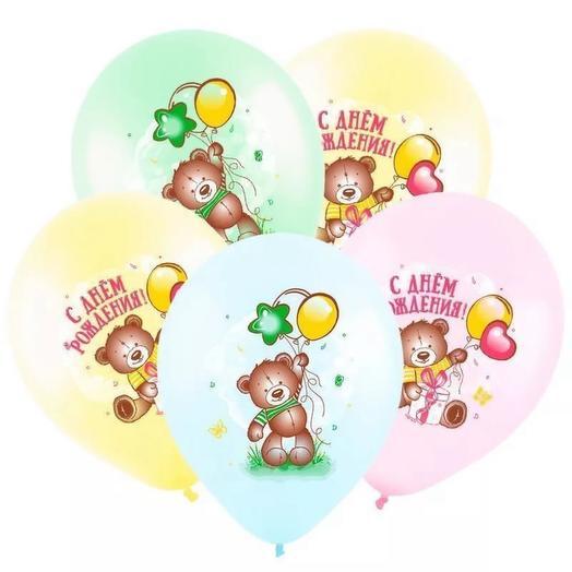 Сет с 5 шарами С Днём Рождения  Милый Мишка