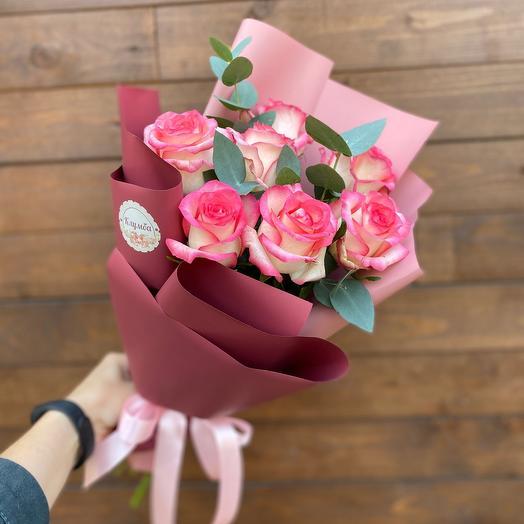 ✅ Букет роз  с эвкалиптом 7