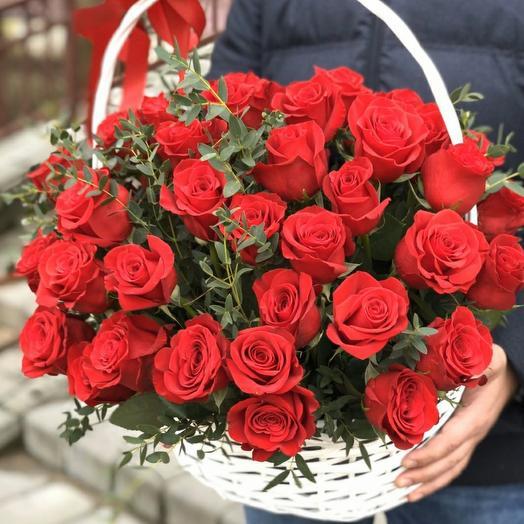 Корзина с 51 эквадорской розой и эвкалиптом
