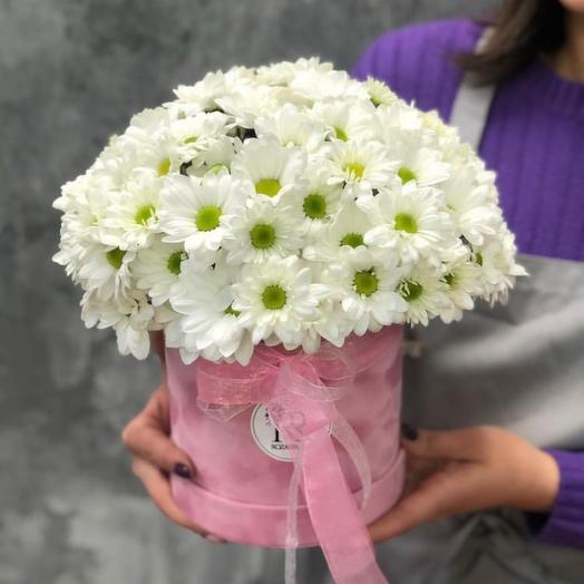 Цветы в коробке « Белоснежная хризантемка»