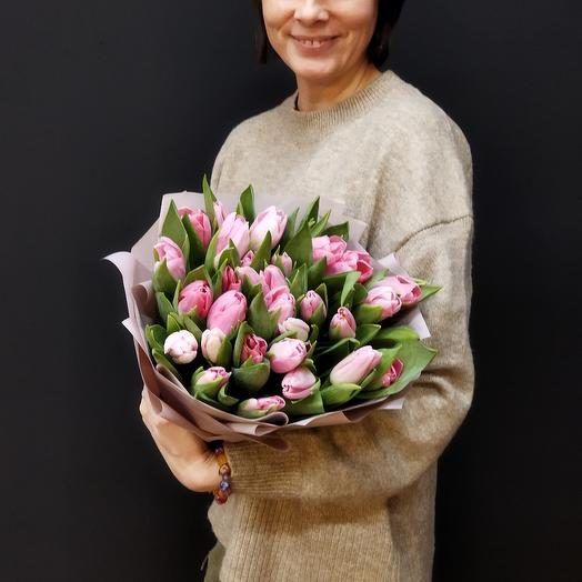 Розовые тюльпаны 25шт