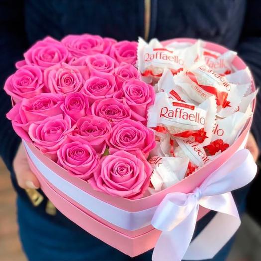 Коробка Розы и конфеты