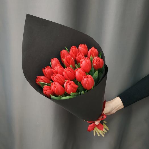 """Букет""""19 красных пионовидных тюльпанов"""""""