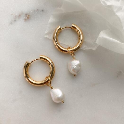 Серьги - кольца Leda hoops барочный жемчуг
