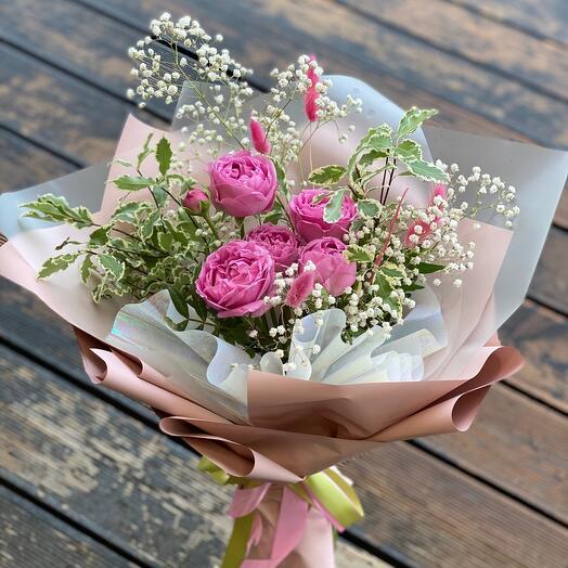 Мисти Бабблз Лайт(роза, гипсофила)