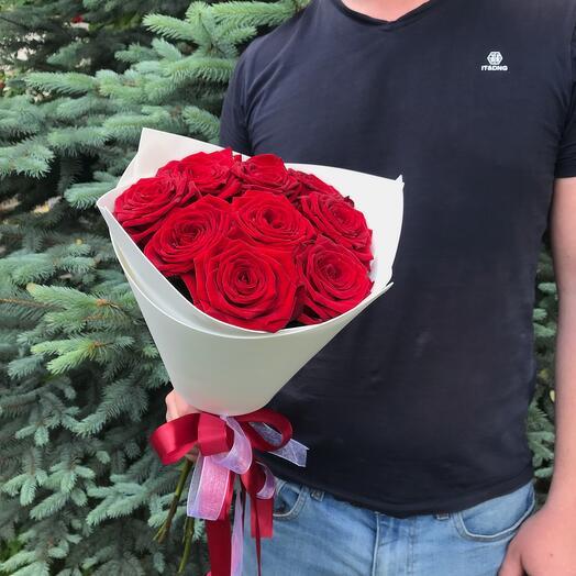Rosalina- 9 Бордовых роз в белом фаомиране