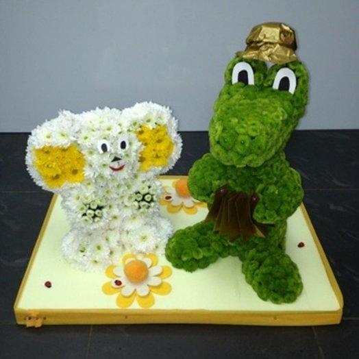 Чебурашка и Гена: букеты цветов на заказ Flowwow